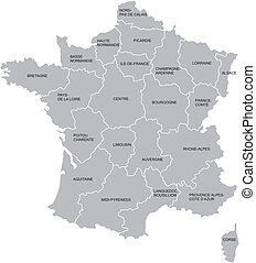 French map - Vectorial map of France with provinces. No...