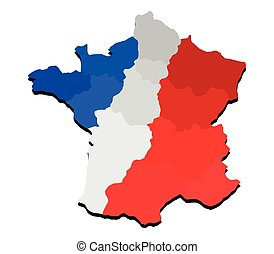 French map with flag