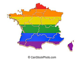 French map with LGBT flag, 3D rendering