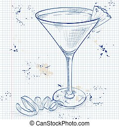French Martini cocktail on a notebook page