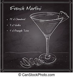 French Martini cocktail on black board