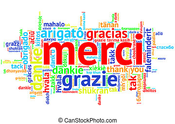 French Merci, Open Word Cloud, Thanks, on white - Focus on...