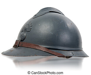 french military helmets of the First World War on white background