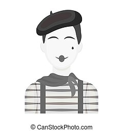 French mime icon in monochrome style isolated on white ...