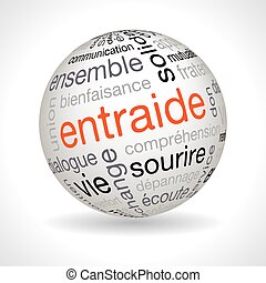 French mutual aid theme sphere with keywords full vector