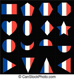 French National flag and set of geometric shape