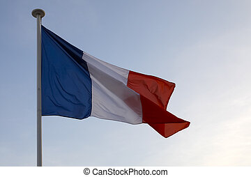 French National flag in the wind