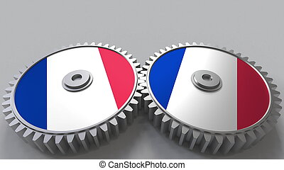 French national project. Flags of France on moving cogwheels. Conceptual 3D rendering