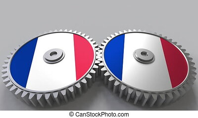 French national project. Flags of France on moving cogwheels. Conceptual animation