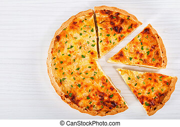 French onion cheese quiche or pie, top view