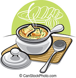 french onion soup with croutons and