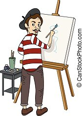 French Painter - Illustration Featuring a French Painter