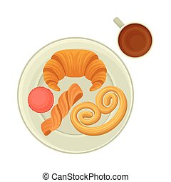 French Pastry with Coffee for Breakfast Vector Illustration