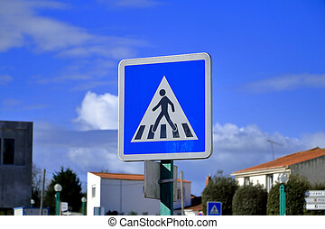 French pedestrian crossing ahead road sign