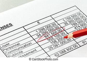 french., pencil., számok, piros, statisztikai