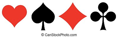 french playing cards symbols hearts, tiles, clovers and pikes