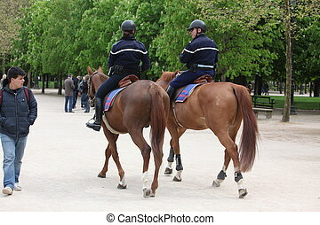 French police control the street, Paris , France. Paris is ...