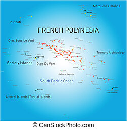 French Polynesia - Vector color map of French Polynesia