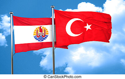 french polynesia flag with Turkey flag, 3D rendering