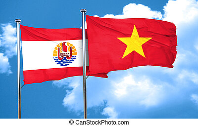 french polynesia flag with Vietnam flag, 3D rendering