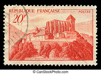 French post stamp - France - 1949: A stamp printed in France...