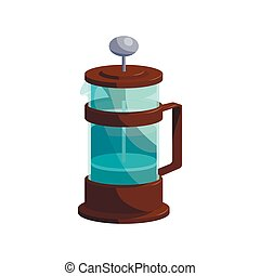 French press coffee icon, cartoon style