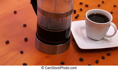 French Press Coffee Maker Dolly - Dolly shot of a french...