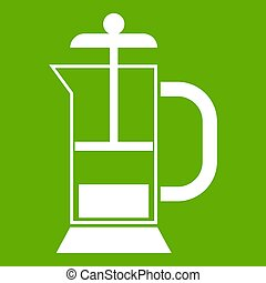 French press coffee maker icon green