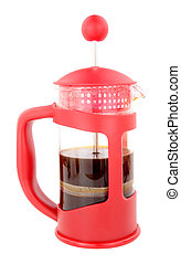 French Press Coffee Maker - Red French press coffee...