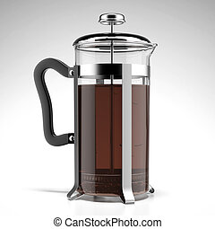 French press isolated on a white background