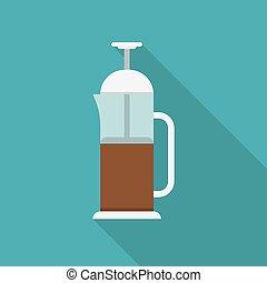 Glass teapot with tea.