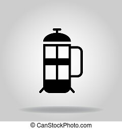 french press icon or logo in  glyph