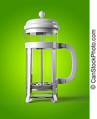 French press isolated on a background 3D rendering - French...