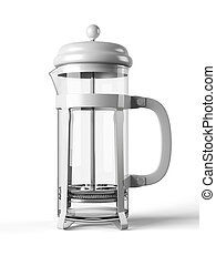 French press isolated on a white background 3D rendering -...