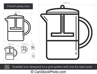 French press line icon.