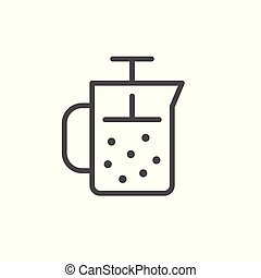 French press line icon isolated on white. Vector...