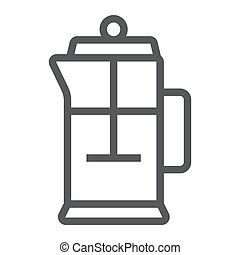 French press line icon, kitchen and cooking, tea pot sign vector graphics, a linear pattern on a white background, eps 10.