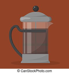 French press made of glass full of hot tasty drink