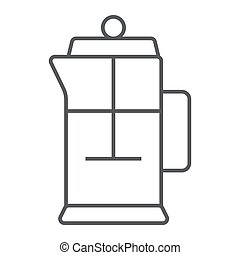 French press thin line icon, kitchen and cooking, tea pot sign vector graphics, a linear pattern on a white background, eps 10.