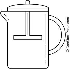 French press vector line icon.