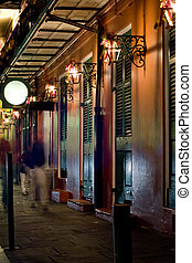 French Quarter at night - Bars at night in French Quarter,...