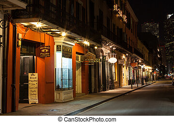 French Quarter at night in New Orleans, Louisiana, USA