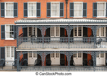 French Quarter pattern - Typical ironwork building in French...