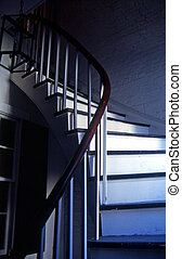 French Quarter Staircase - A winding staircase in the French...