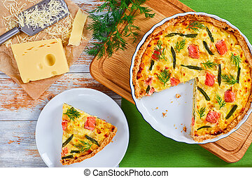 french quiche with salmon cut in slices