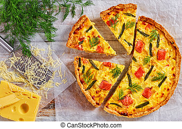 french quiche with Salmon, green bean and cheese