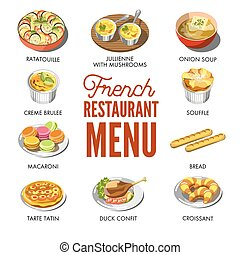 French restaurant menu with traditional national tasty food...