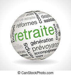 French Retirement theme sphere with keywords full vector