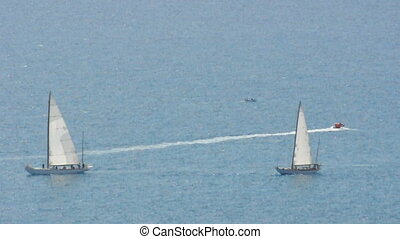 French Riviera. Yachts and sailboats
