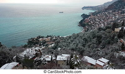 French Riviera Under Snow Panoramic View - Beautiful...